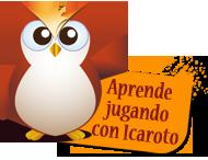 El buho Icaroto sostiene un cartel con la leyenda: Aprende jugando con Icaroto
